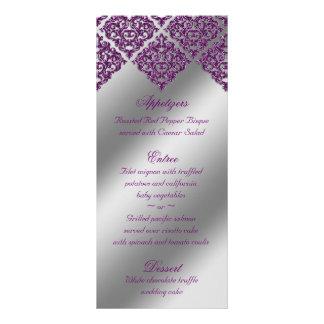 Le menu de mariage damassé carde l'argent pourpre carte double