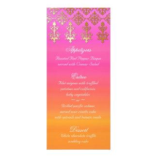 Le menu indien de mariage carde la damassé orange  motif pour double carte