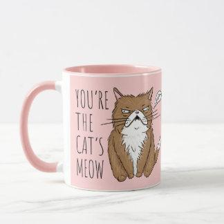 Le Meow du chat rougissent tasse drôle rose de Meh