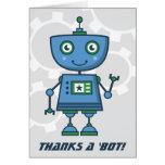Le Merci bleu de robot carde des mercis de | un Cartes De Vœux