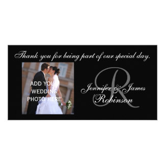 Le Merci de mariage avec le monogramme R appelle l Photocarte Personnalisée