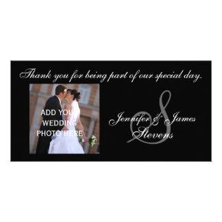 Le Merci de mariage avec le monogramme S appelle l Photocarte