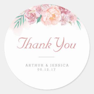 Le Merci | de mariage rougissent et des fleurs Sticker Rond