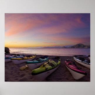 Le Mexique, Baja, mer de Cortez. Kayaks de mer et Posters
