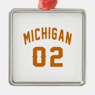 Le Michigan 02 conceptions d'anniversaire Ornement Carré Argenté