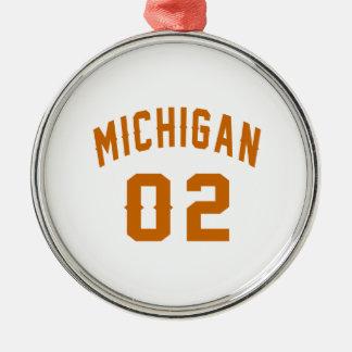 Le Michigan 02 conceptions d'anniversaire Ornement Rond Argenté
