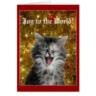 Le minou de Noël fait une carte de voeux joyeuse