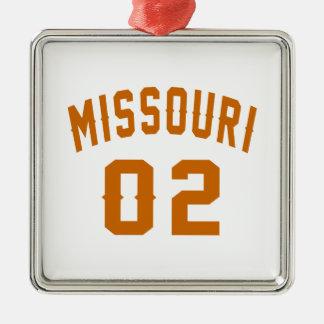 Le Missouri 02 conceptions d'anniversaire Ornement Carré Argenté