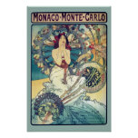 Le Monaco Monte Carlo (Teal - couleurs amorties) Posters