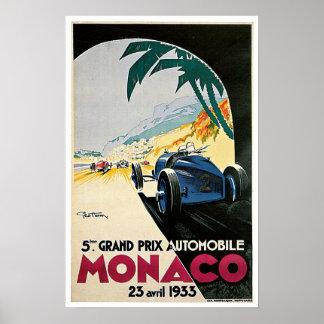 Le Monaco vintage emballant Grand prix Posters