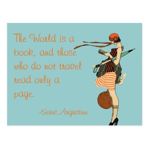 Le monde est un livre carte postale