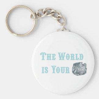 Le monde est votre porte - clé d'huître porte-clé rond
