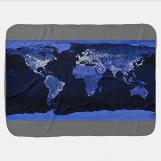 Le monde la nuit - carte, l'espace couvertures pour bébé