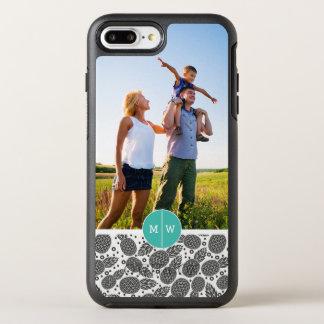 Le monochrome Pineapples| ajoutent votre photo et Coque OtterBox Symmetry iPhone 8 Plus/7 Plus