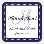 Le monogramme bleu de Merci de mariage appelle l'a