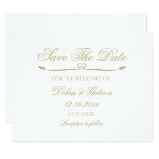 Le monogramme élégant de blanc et d'or font gagner carton d'invitation 10,79 cm x 13,97 cm