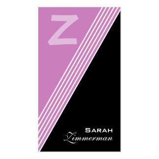Le monogramme pêche le carte de visite lilas
