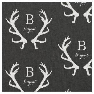 Le monogramme rustique d'andouillers de cerfs tissu