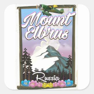 Le mont Elbrouz, affiche russe de voyage Sticker Carré