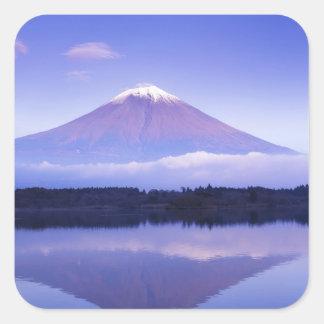 Le mont Fuji avec le nuage lenticulaire, lac Sticker Carré