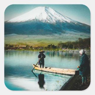 Le mont Fuji du cru de 富士 de Yamanaka de lac Sticker Carré