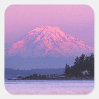 Le mont Rainier au coucher du soleil, l'état de Sticker Carré