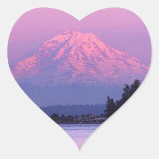 Le mont Rainier au coucher du soleil, l'état de Sticker Cœur