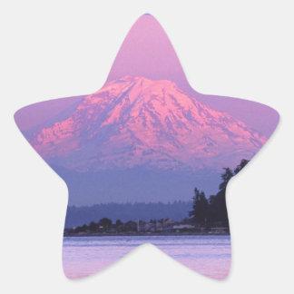 Le mont Rainier au coucher du soleil, l'état de Sticker Étoile