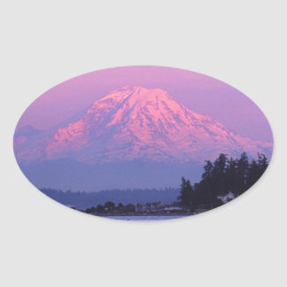 Le mont Rainier au coucher du soleil, l'état de Sticker Ovale