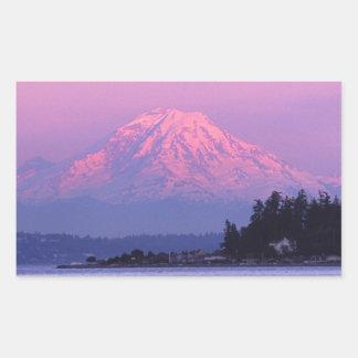 Le mont Rainier au coucher du soleil, l'état de Sticker Rectangulaire