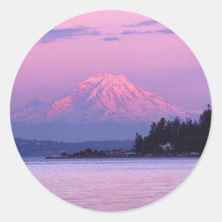 Le mont Rainier au coucher du soleil, l'état de Sticker Rond