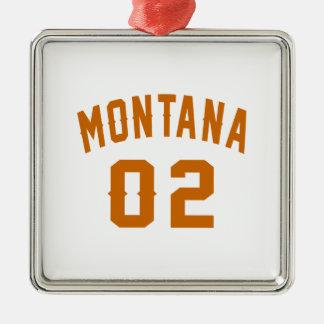 Le Montana 02 conceptions d'anniversaire Ornement Carré Argenté