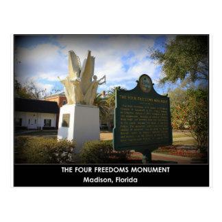 LE MONUMENT DE QUATRE LIBERTÉS - MADISON, FL CARTE POSTALE