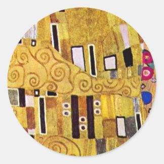 Le motif de baiser par Gustav Klimt, art Nouveau Sticker Rond
