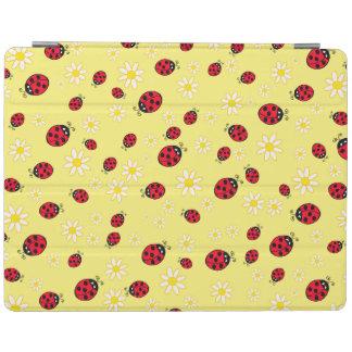 le motif de fleur mignon girly de coccinelle et de protection iPad