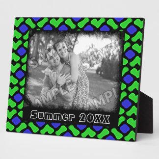 Le motif en osier bleu et vert de style ajoutent plaque photo