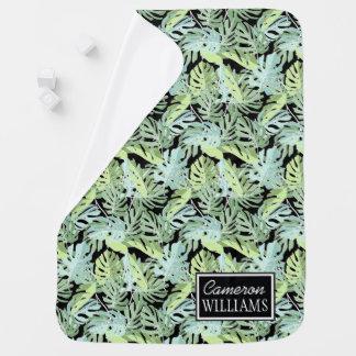 Le motif floral   de jungle ajoutent votre nom couvertures pour bébé