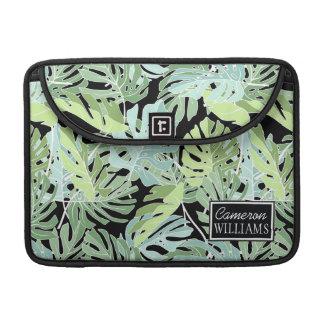 Le motif floral | de jungle ajoutent votre nom housses MacBook pro