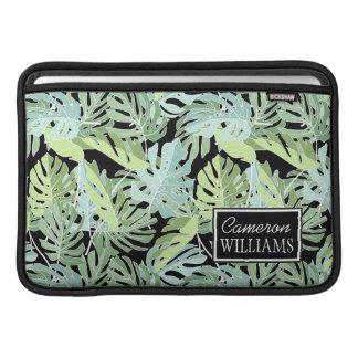 Le motif floral | de jungle ajoutent votre nom poches pour macbook air