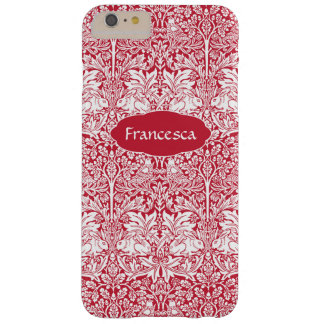 Le motif rouge Morris de lapin a personnalisé le Coque Barely There iPhone 6 Plus