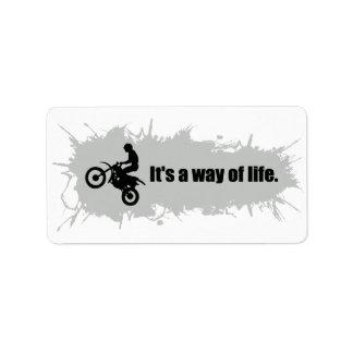 Le motocross est un mode de vie étiquette d'adresse