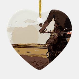 Le motocycliste, un cycliste sur la route ornement cœur en céramique