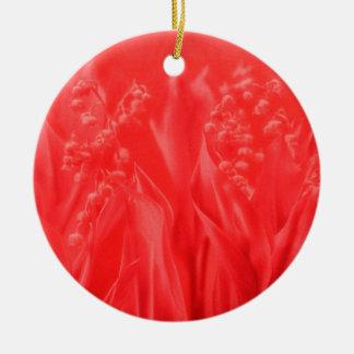 Le muguet en rouge ornement rond en céramique