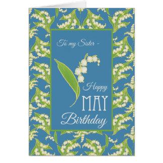 Le muguet peut carte d'anniversaire, bleu : Soeur