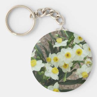 Le narcisse blanc fleurit le porte - clé porte-clé rond