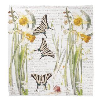 Le narcisse vintage de papillon fleurit le Bandana