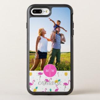 Le néon Flamingos| ajoutent votre photo et Coque OtterBox Symmetry iPhone 8 Plus/7 Plus