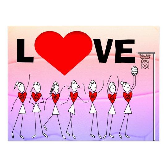 Le net-ball d'amour place les chiffres et le coeur carte postale