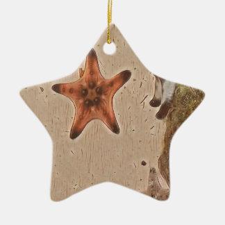 Le neutre artistique bronze des étoiles de mer sur ornement étoile en céramique