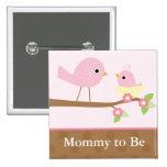 Le nid d'oiseau de bébé (rose) badge avec épingle